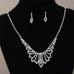 Diamante Crystal Bib Style Necklace and Earring Set - BRI003