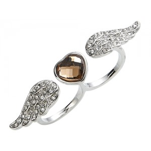 Heart and Angel Wings Double Finger Ring - RIN001