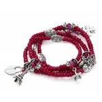 Hot Pink Charm and Bead Necklace or Bracelet - CHA003