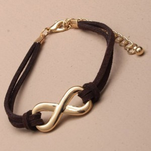 Leather Infinity Bracelet Brown and Gold - BRA003