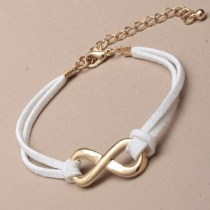 Leather Infinity Bracelet White and Gold - BRA001