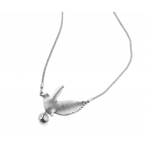 Long Silver Dove Pendant  - DOV001