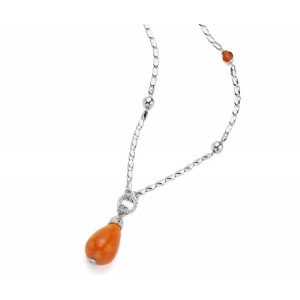 Long Silver and Orange Charm Pendant - PEN001