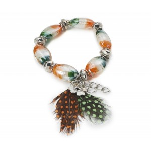 Murano Bead  Bracelet with Feathers and Charms Orange and Green - BEA001