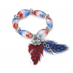 Murano Bead Bracelet with Feathers and Charms Red and Blue - BEA002