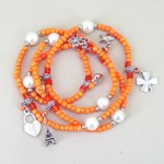 Orange Charm and Bead Necklace or Bracelet - CHA005