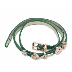 Green Leather Bracelet with Charms - LEA002