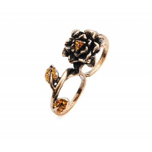 Rose and Amber Double Finger Ring - RIN010