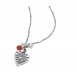Silver Heart Charm Necklace - HRT002