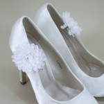 Bridal Shoe Clips White Flower and Pearls - BSC004