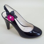 Shoe Clips Black and Cerise Flower with Pearls - SHO002