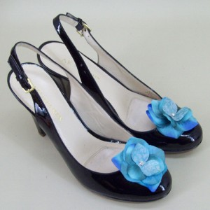 Shoe Clips Turquoise Flower and Diamante - SHO003