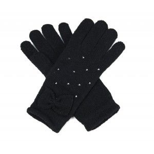 Black Diamante and Bow Trim Gloves - GLO001
