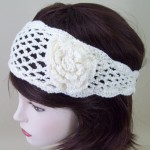 Crochet Flower Headband Cream - HEA002