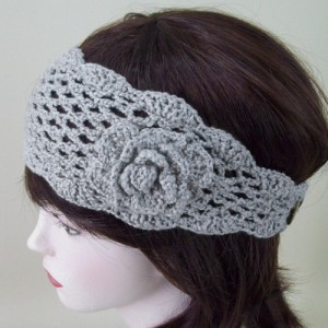 Crochet Flower Headband Grey - HEA003