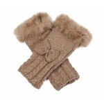Fur Trim Arm Warmers Camel - GLO005