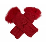 Fur Trim Arm Warmers Red - GLO003