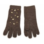 Gold Studded Brown Knit Gloves - GLO008