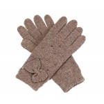 Oatmeal Diamante and Bow Trim Gloves - GLO006