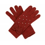 Tan Diamante and Bow Trim Gloves - GLO002