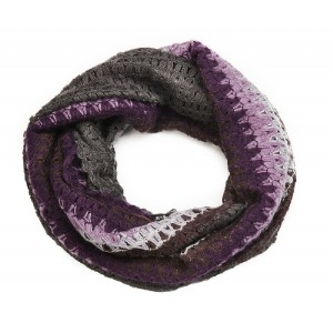 Waffle Knit Snood Aubergine and Grey - SNO002
