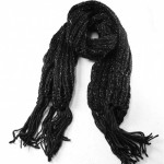Winter Warmers Chunky Knit Lurex Scarf Black - SCA001