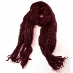 Winter Warmers Chunky Knit Lurex Scarf Burgundy - SCA002