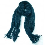 Winter Warmers Chunky Knit Lurex Scarf Real Blue - SCA003