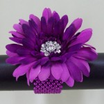 Amethyst Gerbera and Crystal Flower Wrist Corsage - WCOR006