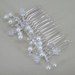Aurora Diamante and Pearl Hair Comb Silver - Bridal Hair Accessories - 019T