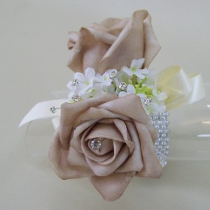 Coffee Rose and Crystal Wrist Corsage - WCOR016