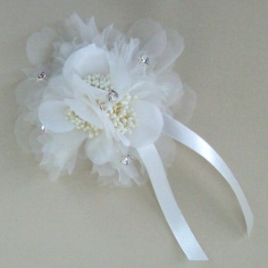 Corsage or Hair Clip Ivory Gossamer Flower and Diamante ABC013b