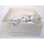 Eirene Diamante and Pearl Hair Band Silver  - Bridal Hair Accessories - 014T