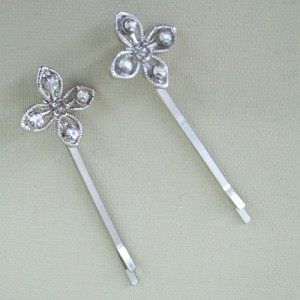 Flower Crystal Hair Grip x 2 - Bridal Hair Accessories RHF006