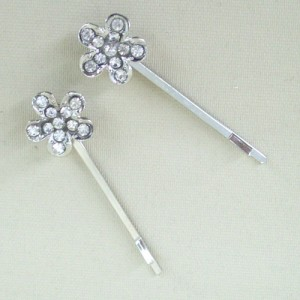 Flower Crystal Hair Grip x 2 - Bridal Hair Accessories RHF008
