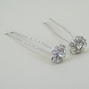 Flower Crystal Hair Pins x 2 - Bridal Hair Accessories RHF002