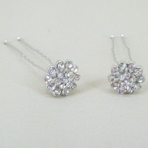 Flower Crystal Hair Pins x 2 - Bridal Hair Accessories RHF004