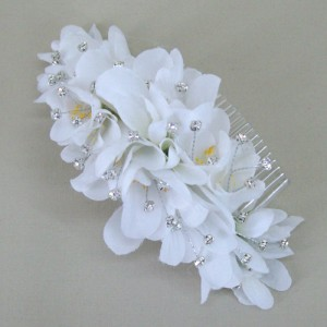 Freesia and Pearl Long Comb Slide - Bridal Hairstyle Accessory WED001