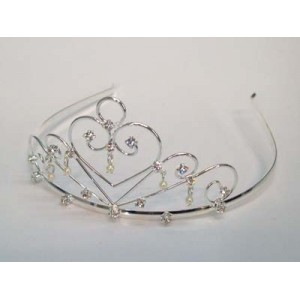 Freya Tiara Silver Diamante and Pearl - Bridal Hair Accessories - 003T