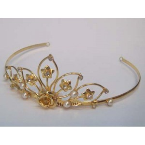 Juno Tiara Gold Diamante - Bridal Hair Accessories - 007T