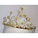 Minerva Tiara Gold Diamante - Bridal Hair Accessories - 008T