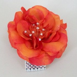 Orange Rose and Crystal Wrist Corsage - WCOR007