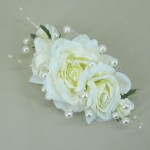 Rose and Pearl Long Comb Slide Cream - Bridal Hairstyle Accessory WED004