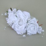 Rose and Pearl Long Comb Slide White - Bridal Hairstyle Accessory WED002