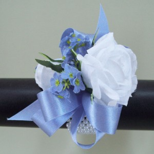 White Rose and Forget me Not Wrist Corsage - WCOR009