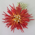Wrist Corsage Flame Red Flower and Crystal - WCOR027
